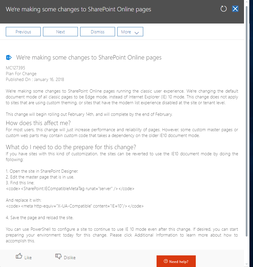 Changes to Default Document Mode in Office 365 / SharePoint