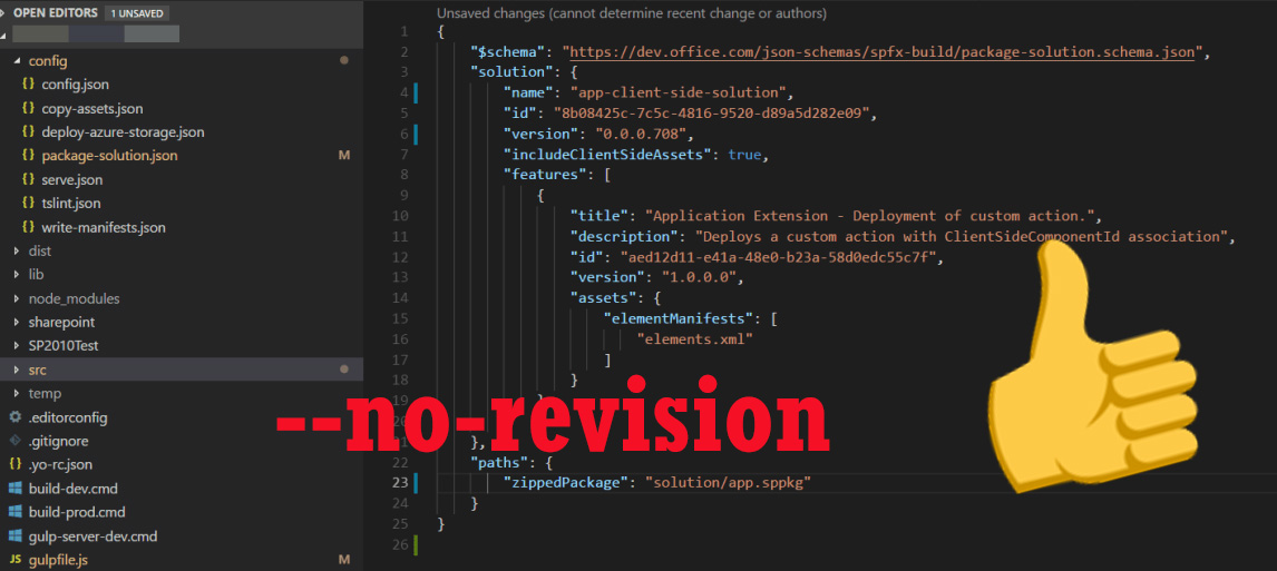 Update: SPFx Automatically Generating Revision Numbers +
