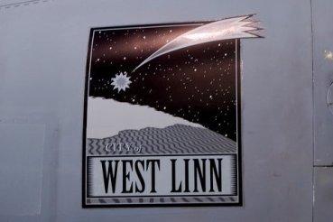 The West Linn artwork close up.
