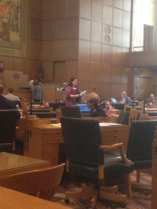 Representative Parrish Presenting the Resolution in the Legislature