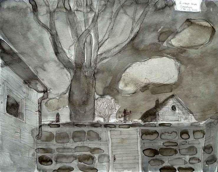 """Thomas Groslier """"Le vieux mur"""" 2012 Encre de Chine et lavis sur papier"""