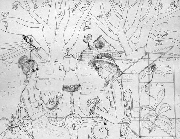 """Thomas Groslier """"La serre"""" 2012 Encre de Chine sur papier"""