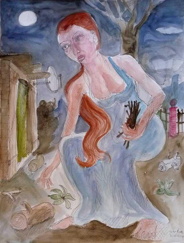 """Thomas Groslier, """"Les fagots"""" 2012 Encre de Chine et aquarelle sur papier 65 x 50 cm"""