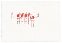 Mahlzeit/Flöte, 2015, Tintenschreiber auf Papier, 13,3 x 20,3cm