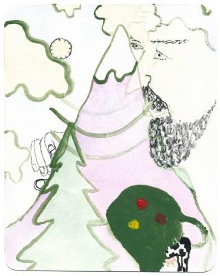 Mittagshitze, 2010, Ölfarbe, Aquarell und Tusche auf Papier, 10,6 x 13,3cm