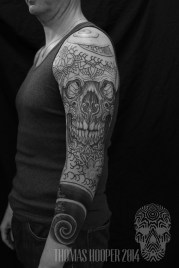 Skull Mandala Layered Thomas Hooper Dotwork Tattoo-9