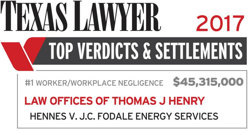 Thomas J  Henry Achieves #1 Worker/Workplace Negligence
