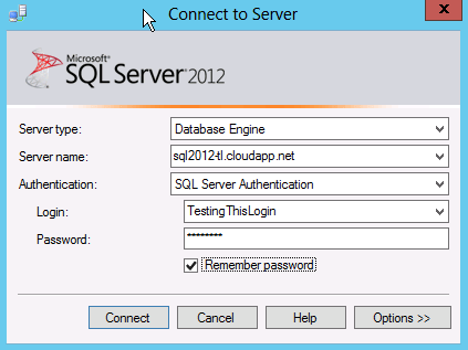 HOW TO: Connect To A Windows Azure VM Using SQL Server Management Studio