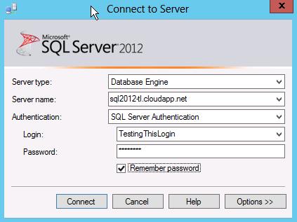 Connect To A Windows Azure VM Using SQL Server Management Studio