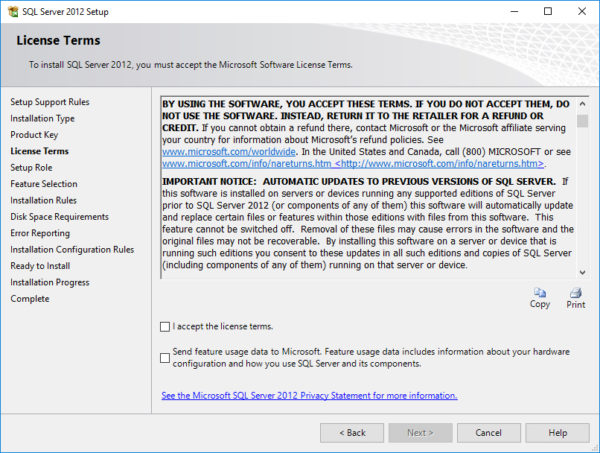 SQL Server 2016 Updated Privacy Statement