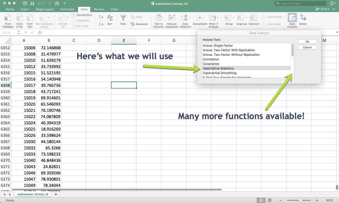 The Data Analysis Toolpack Has A Lot Of Useful Statistical Functions. The  First One I Used In The Course Was The Descriptive Statistics.