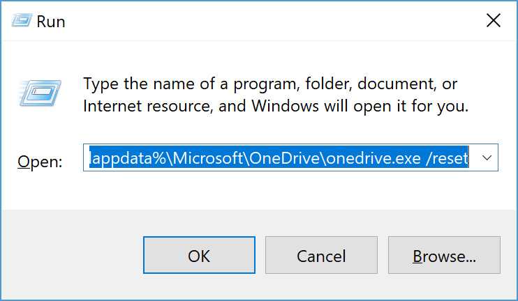 Hot to reset your onedrive