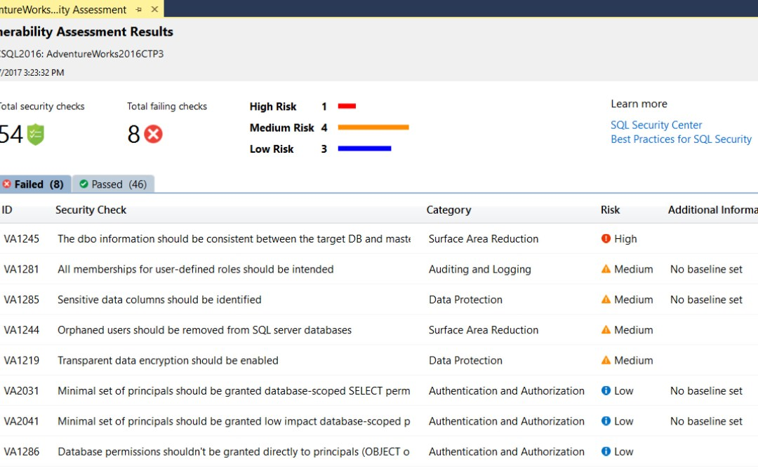 SQL Vulnerability Assessment Available in SSMS