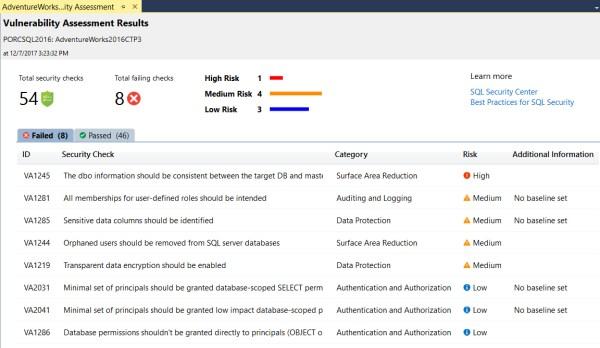 SQL Vulnerability Assessment Scan Results