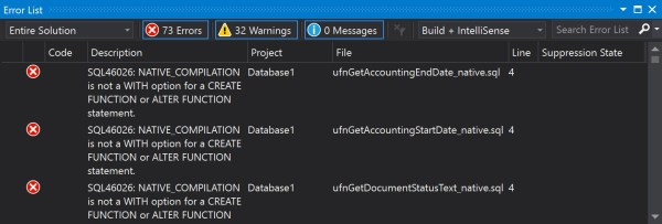 visual studio build errors sql migration prior version