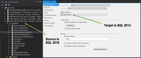 visual studio database project sql server prior version target