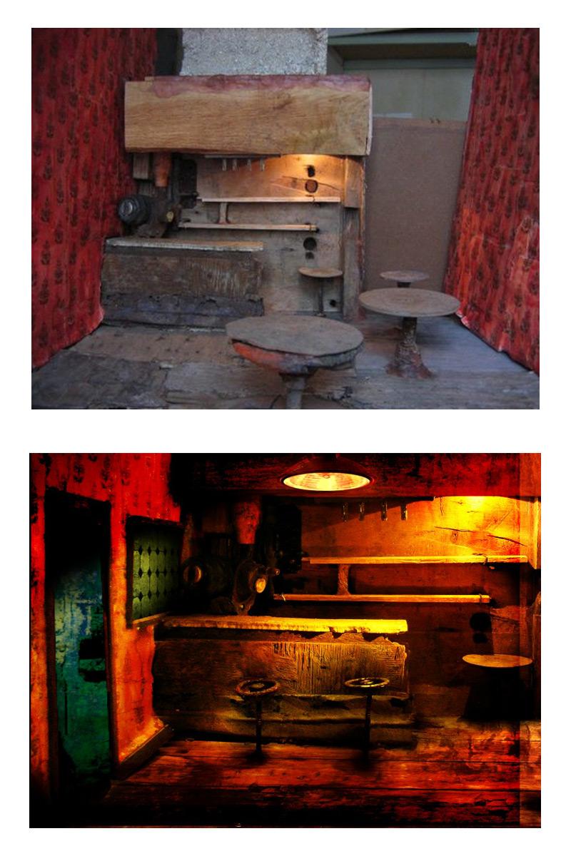 différence entre la maquette du bar et le rendu après effets spéciaux