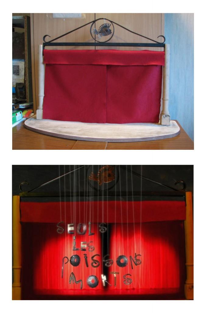 maquette du théâtre puis rendu final après composition avec 3D et effets spéciaux