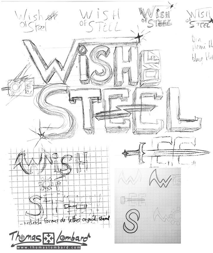 recherches et esquisses pour le logo Wish of Steel