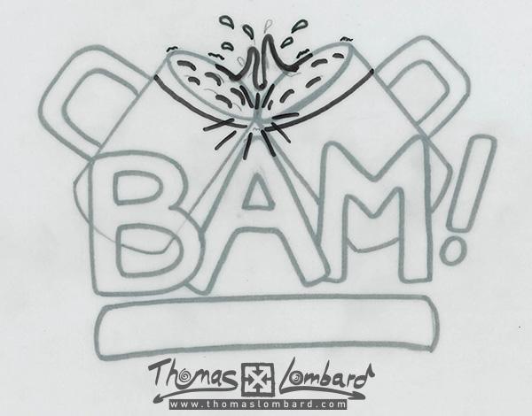 Mise au propre au papier calque pour le logo de la bière BAM²!