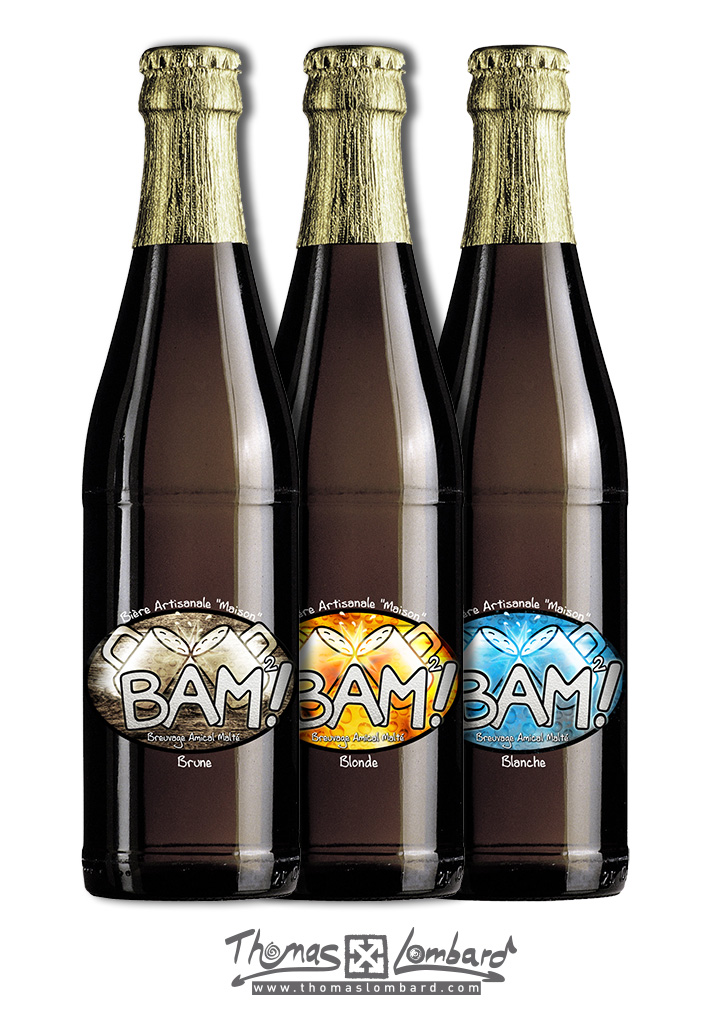 Déclinaison du logo sur les étiquettes de la bière BAM²!