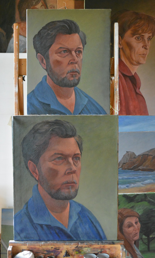 Two paintings of the same subject (self-portrait)