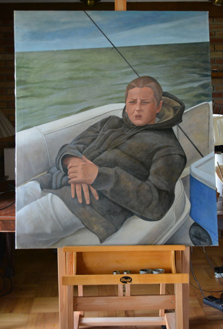 The painting titled 'John Fishing,' finished this morning