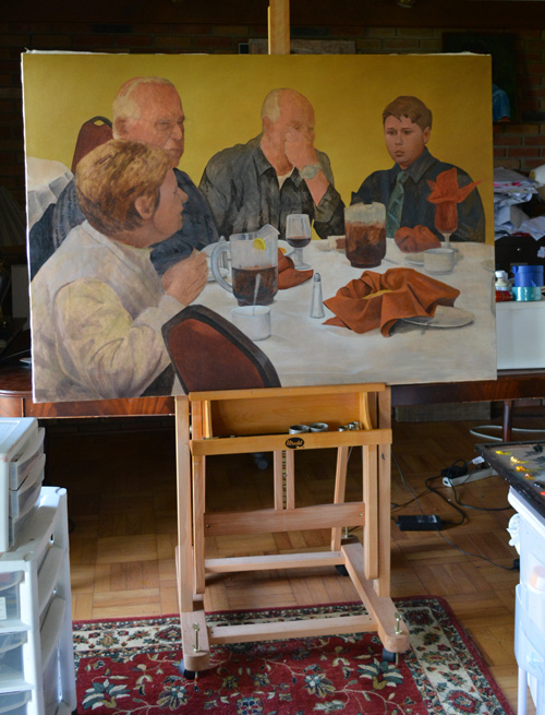 On the easel, the unfinished 'Dinner in Trenton'