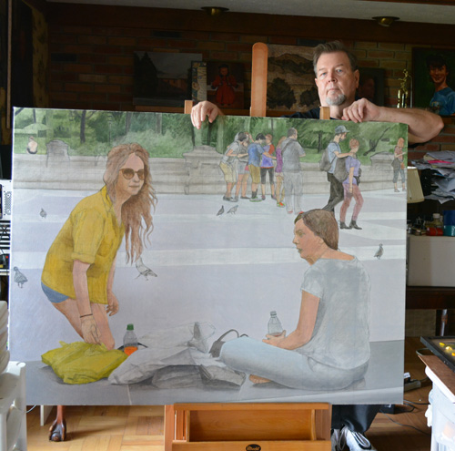 Me with the unfinished Washington Square on the easel