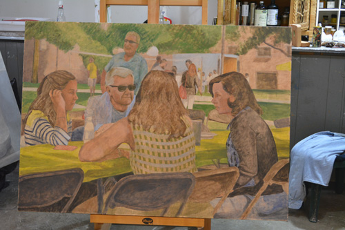 The unfinished 'Picnic' on the easel in the new studio