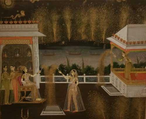 Ladies Celebrating Diwali, tempera, 1760, Northern India