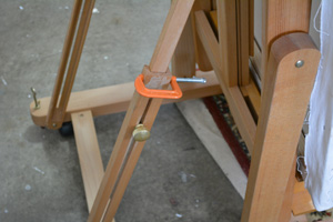 Broken support, glued and clamped