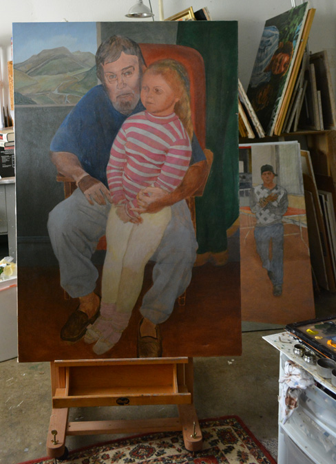 The unfinished 'Grandfather' on the easel