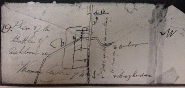 Impromptu sketch of Ashbourne battle by Thomas Ashe