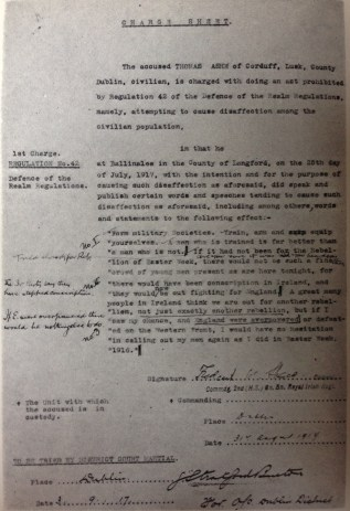 Notes by Thomas Ashe on court-martial charge sheet, 1917