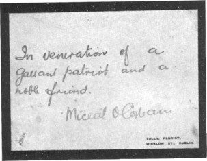"""This memorial card was sent by Irish leader Michael Collins to Ashe's family shortly after his death.Collins gave the short but powerful oration at Ashe's graveside. """"Nothing additional remains to be said.That volley which we have just heard is the only speech which is proper to make above the grave of a dead Fenian"""""""