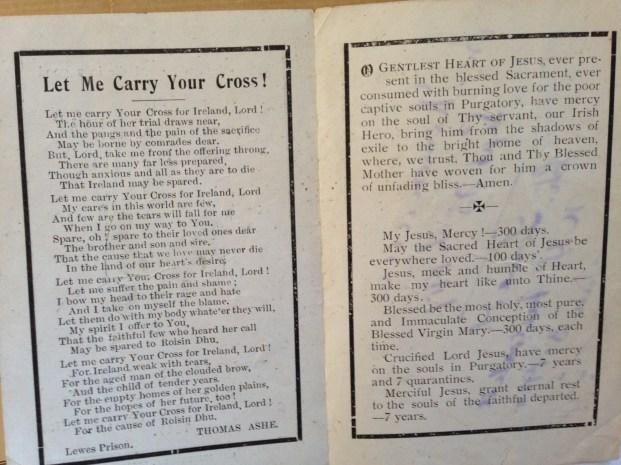 Thomas Ashe Memorial Card, Inside