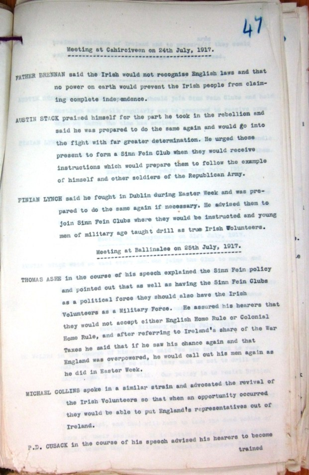 RIC notes on Thomas Ashe speech at Ballinalee 25th July 1917
