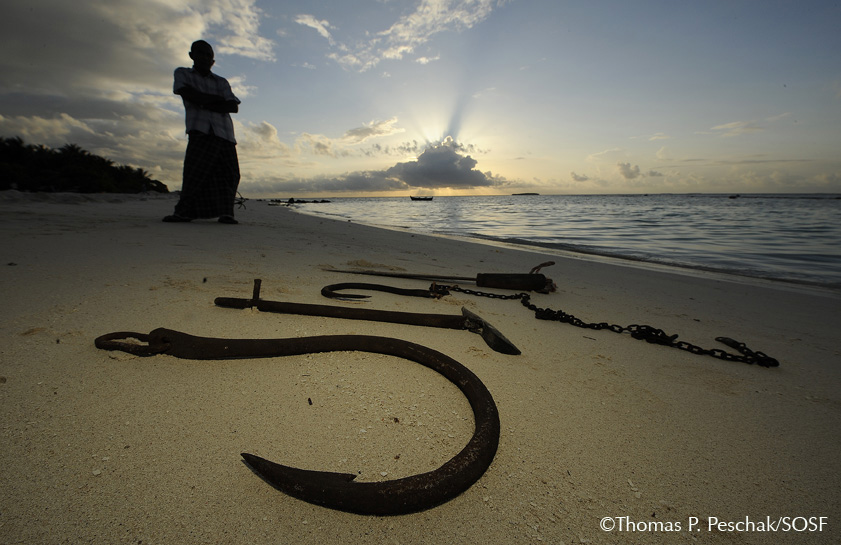The tools of ex-whale shark and manta ray hunters on Dhonfanu Island, Baa Atoll, Maldives.