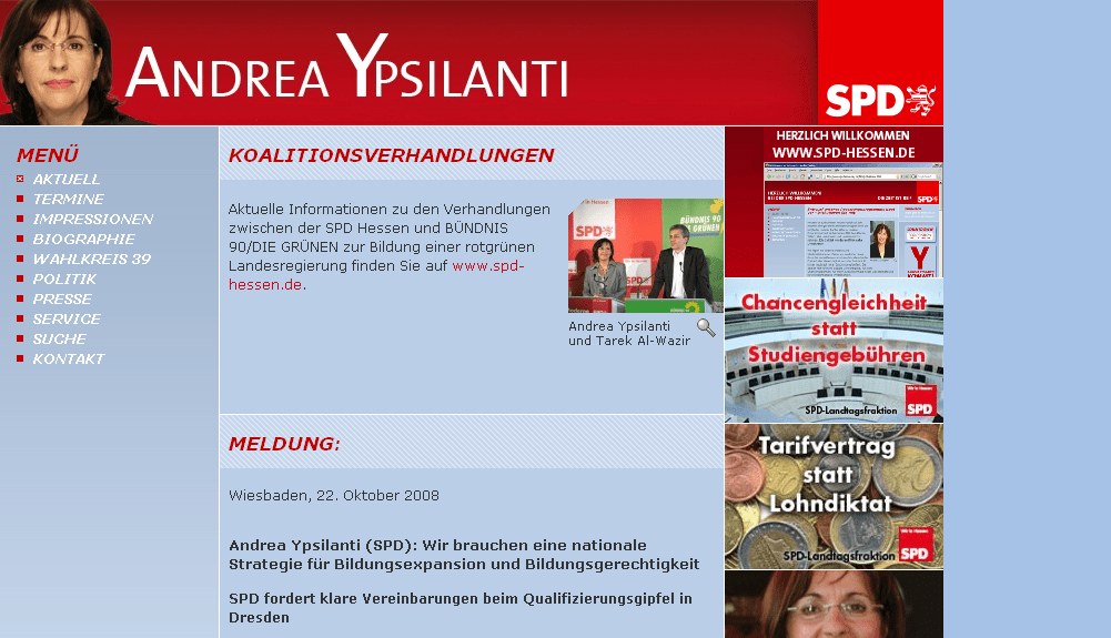 Die Website von Andrea Ypsilanti am Tag des GAUs (3.11.2008, ca. 18 Uhr)