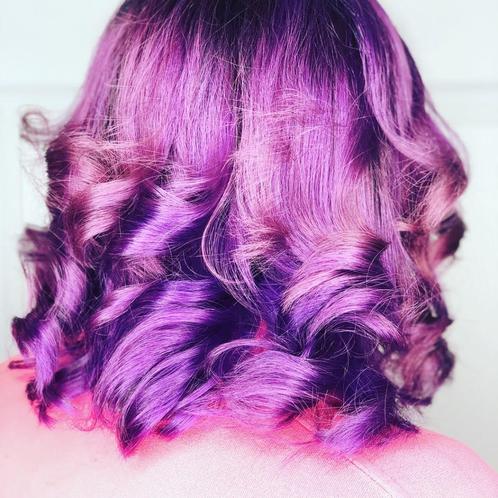 Thomas Shelton Stylist Roque's Client with Purple Hair