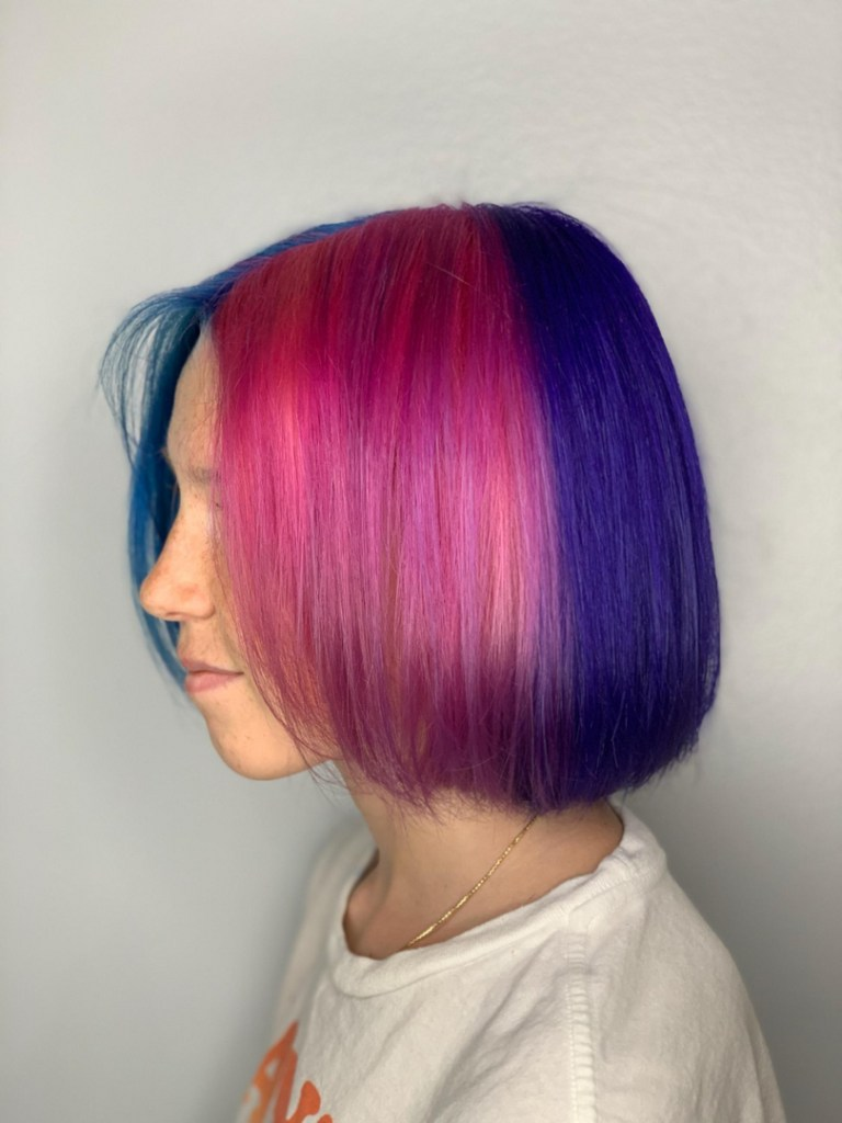 Thomas Shelton Stylist Carlos's Client with Pink Purple and Blue Hair