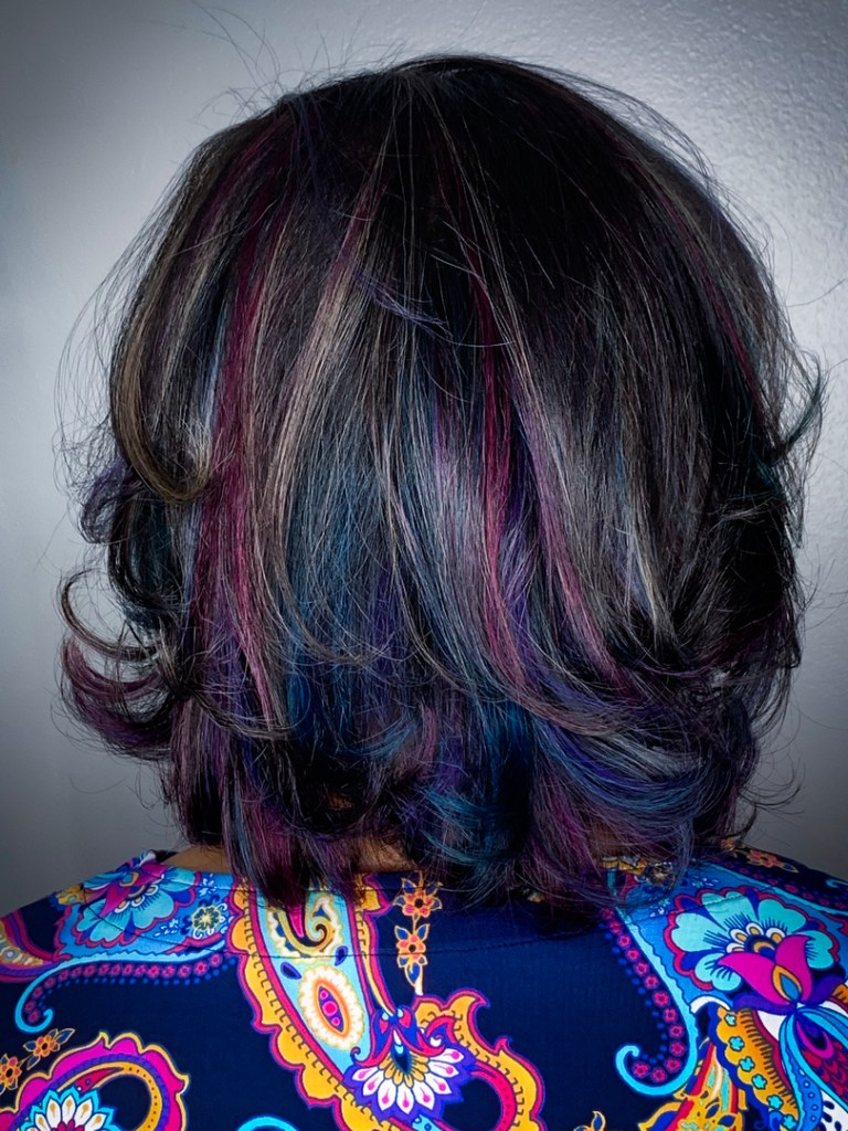 Thomas Shelton's Client With Multicolored Hair