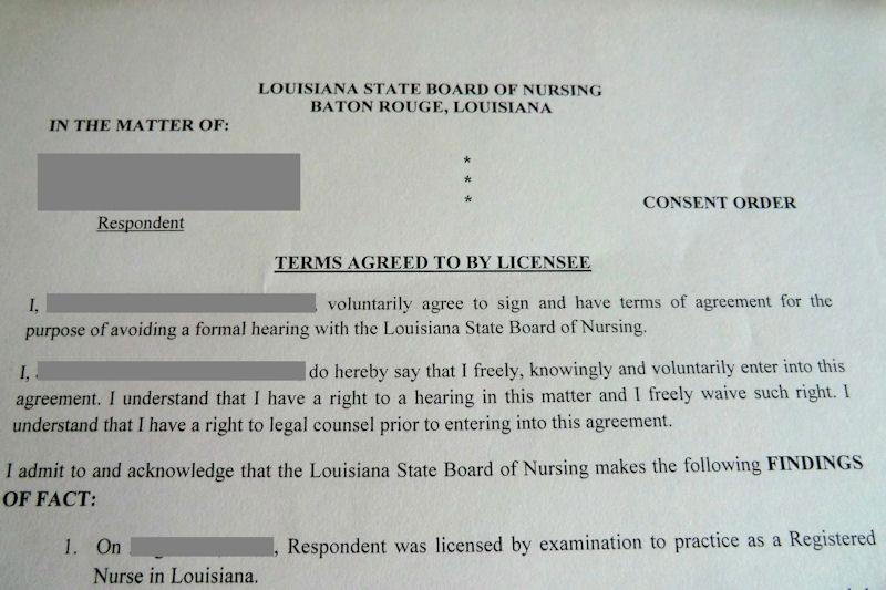 Nursing Board Consent Orders Thomas V Alonzo Law Firm