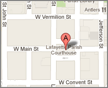 map of the location of Lafayette Parish Courthouse