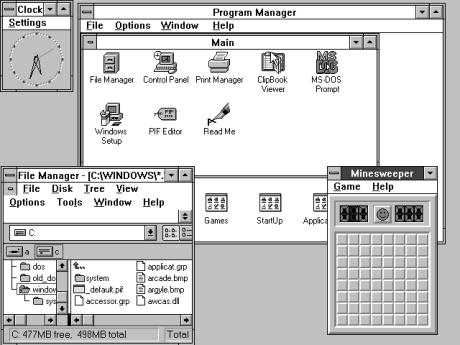 Windows 3.11 (in schwarzweiß)