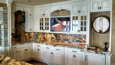 Custom Kitchen with Media Mount