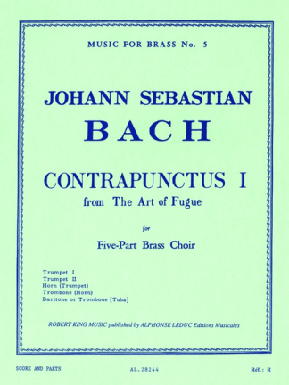 Bach -- The Art of Fugue Contrapuntus 1 for Brass Quintet