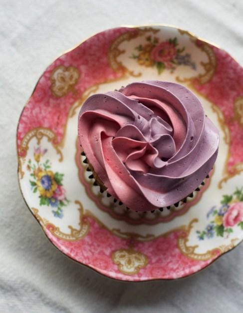Vanilla cupcake with Royal Albert saucer