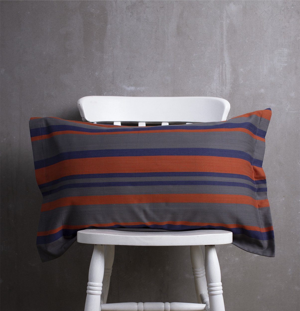 bold stripes cotton bed sheet blue orange with 2 pillow covers